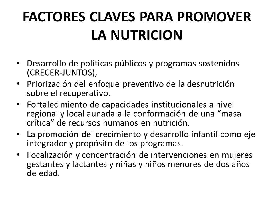 FACTORES CLAVES PARA PROMOVER LA NUTRICION Desarrollo de políticas públicos y programas sostenidos (CRECER-JUNTOS), Priorización del enfoque preventiv