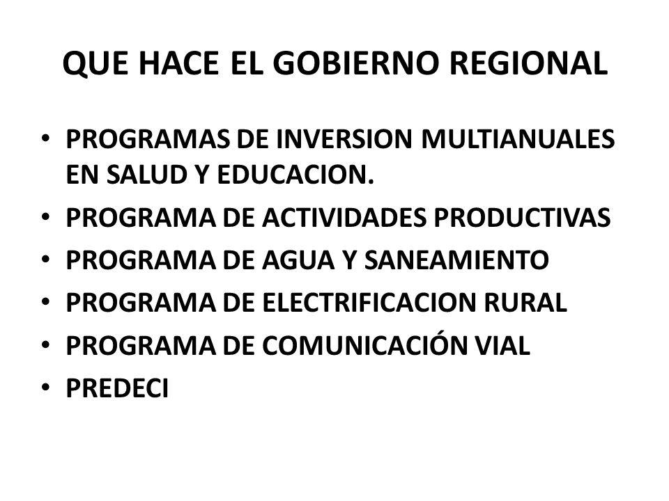 QUE HACE EL GOBIERNO REGIONAL PROGRAMAS DE INVERSION MULTIANUALES EN SALUD Y EDUCACION. PROGRAMA DE ACTIVIDADES PRODUCTIVAS PROGRAMA DE AGUA Y SANEAMI