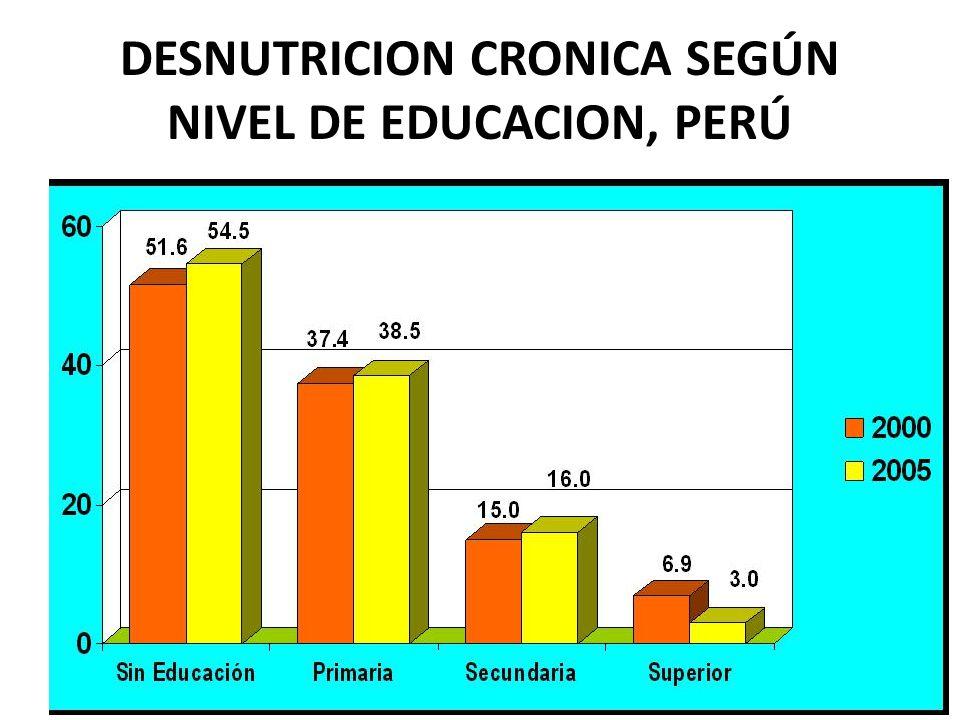 FACTORES DETERMINAN LA DESNUTRICION Alimentación 21.6% Educación de la mujer 43% Status de la mujer 11.6% Salud y Saneamiento 19.3% Fuente: Smith L.