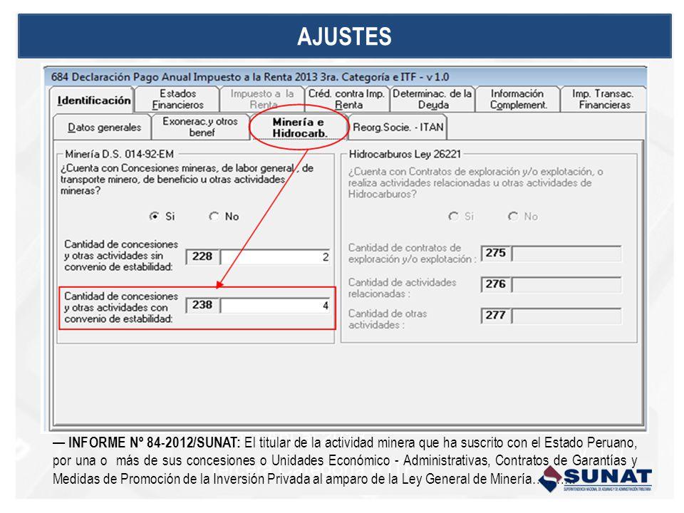 INFORME Nº 84-2012/SUNAT: El titular de la actividad minera que ha suscrito con el Estado Peruano, por una o más de sus concesiones o Unidades Económi