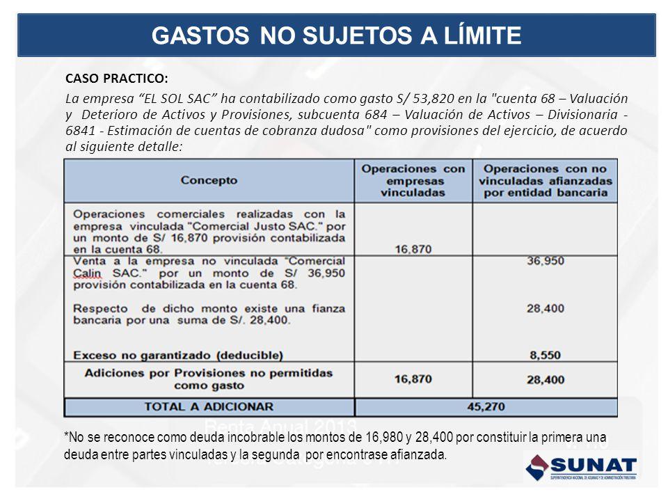 CASO PRACTICO: La empresa EL SOL SAC ha contabilizado como gasto S/ 53,820 en la