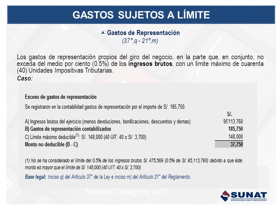Gastos de Representación (37°,q - 21º,m) Los gastos de representación propios del giro del negocio, en la parte que, en conjunto, no exceda del medio