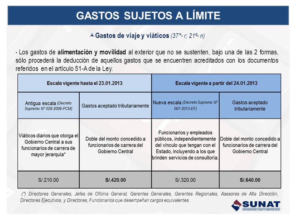 Gastos de viaje y viáticos (37°- r; 21º- n) - Los gastos de alimentación y movilidad al exterior que no se sustenten, bajo una de las 2 formas, sólo p