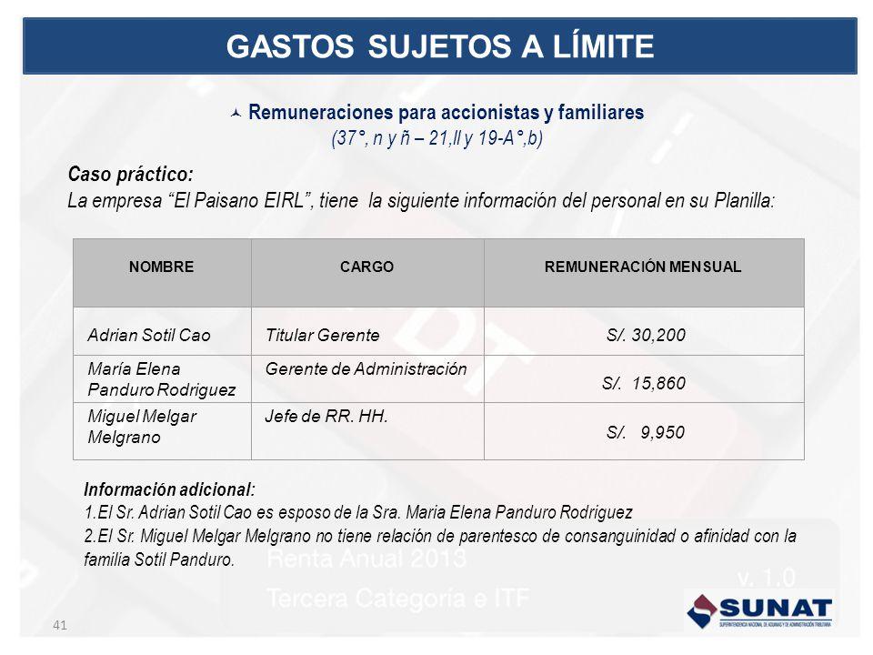 NOMBRE CARGO REMUNERACIÓN MENSUAL Adrian Sotil CaoTitular Gerente S/. 30,200 María Elena Panduro Rodriguez Gerente de Administración S/. 15,860 Miguel