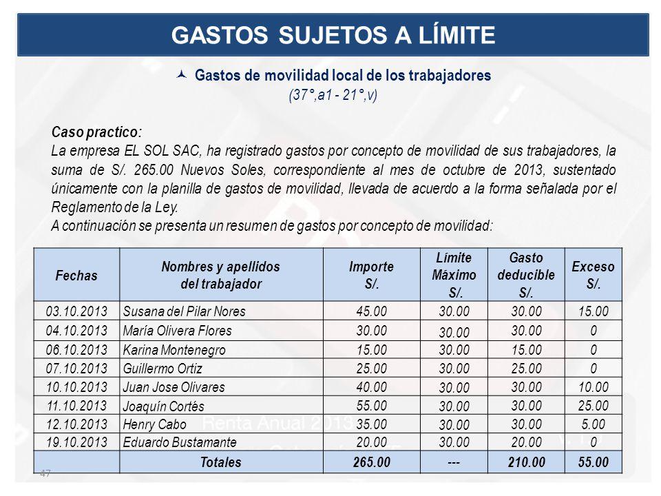 Caso practico: La empresa EL SOL SAC, ha registrado gastos por concepto de movilidad de sus trabajadores, la suma de S/. 265.00 Nuevos Soles, correspo