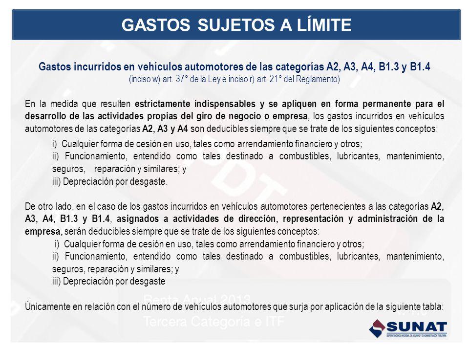 Gastos incurridos en vehículos automotores de las categorías A2, A3, A4, B1.3 y B1.4 (inciso w) art.