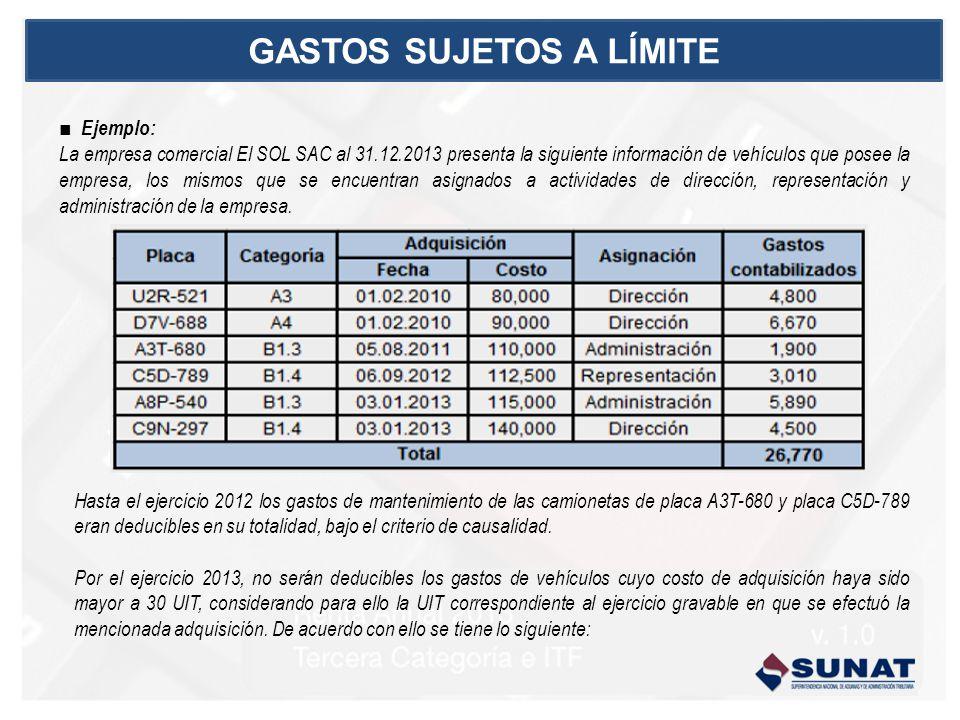 Ejemplo: La empresa comercial El SOL SAC al 31.12.2013 presenta la siguiente información de vehículos que posee la empresa, los mismos que se encuentran asignados a actividades de dirección, representación y administración de la empresa.