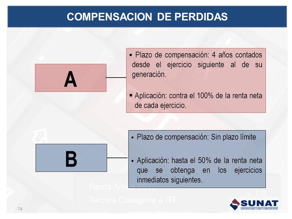 B 74 COMPENSACION DE PERDIDAS Plazo de compensación: 4 años contados desde el ejercicio siguiente al de su generación. Aplicación: contra el 100% de l
