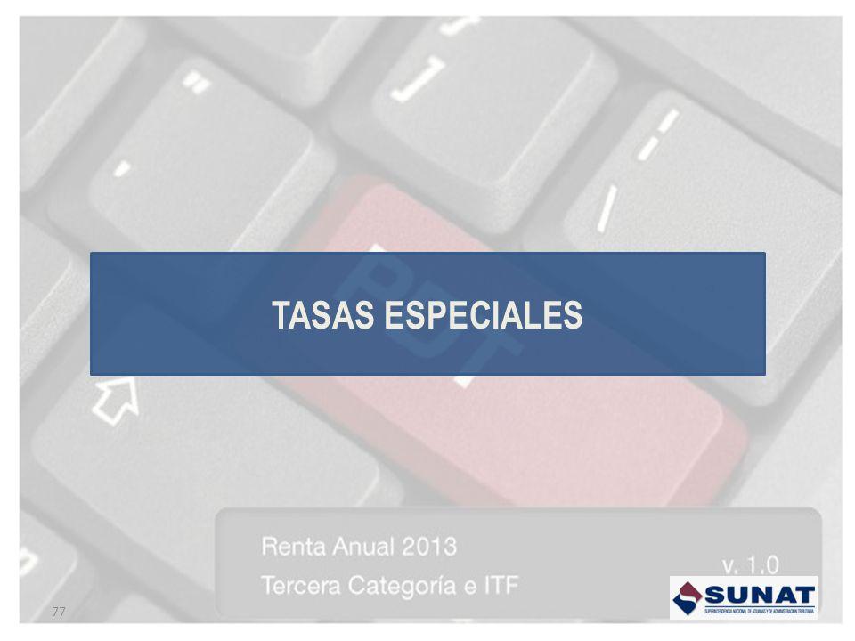 77 TASAS ESPECIALES