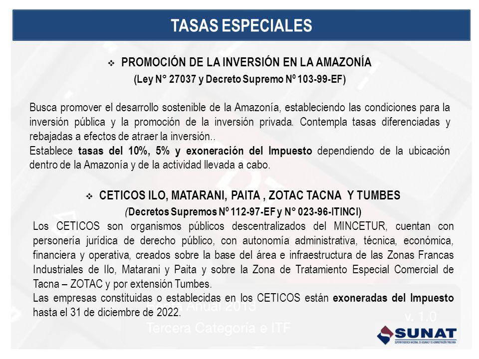 PROMOCIÓN DE LA INVERSIÓN EN LA AMAZONÍA (Ley N° 27037 y Decreto Supremo Nº 103-99-EF) Busca promover el desarrollo sostenible de la Amazonía, estableciendo las condiciones para la inversión pública y la promoción de la inversión privada.