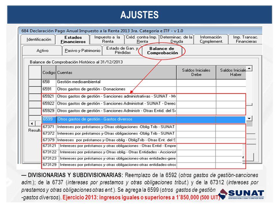 DIVISIONARIAS Y SUBDIVISIONARIAS: Reemplazo de la 6592 ( otros gastos de gestión-sanciones adm.); de la 6737 ( intereses por prestamos y otras obligaciones tribut.) y de la 67312 ( intereses por prestamos y otras obligaciones otras ent.).