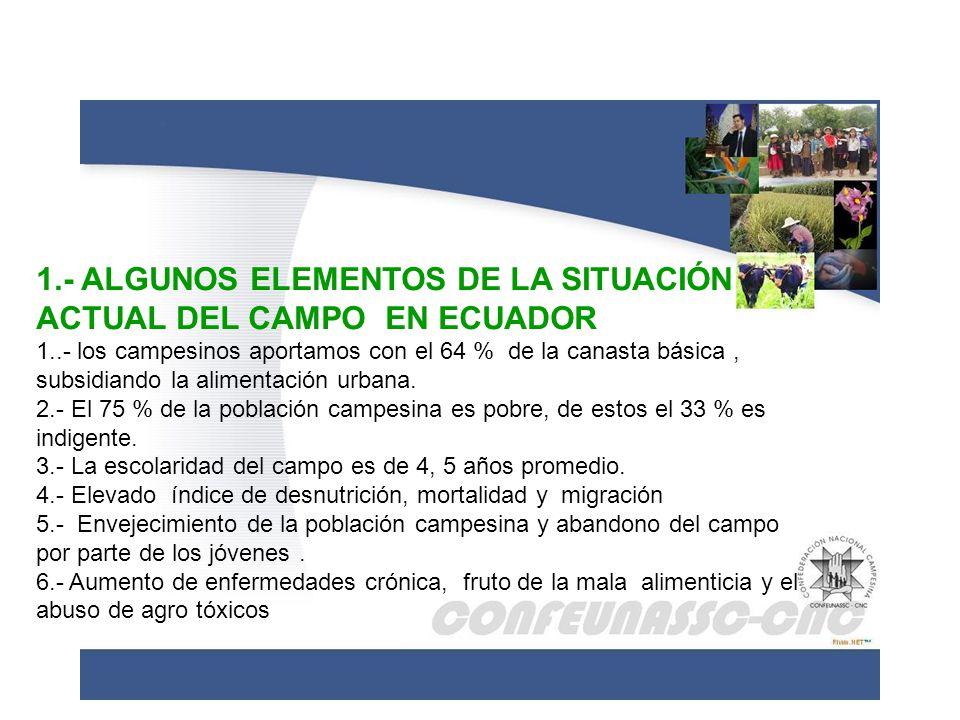 1.- ALGUNOS ELEMENTOS DE LA SITUACIÓN ACTUAL DEL CAMPO EN ECUADOR 1..- los campesinos aportamos con el 64 % de la canasta básica, subsidiando la alime