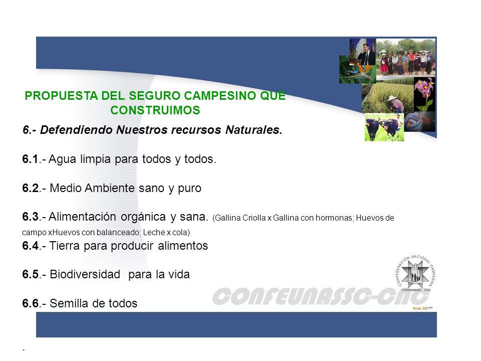 PROPUESTA DEL SEGURO CAMPESINO QUE CONSTRUIMOS 6.- Defendiendo Nuestros recursos Naturales. 6.1.- Agua limpia para todos y todos. 6.2.- Medio Ambiente
