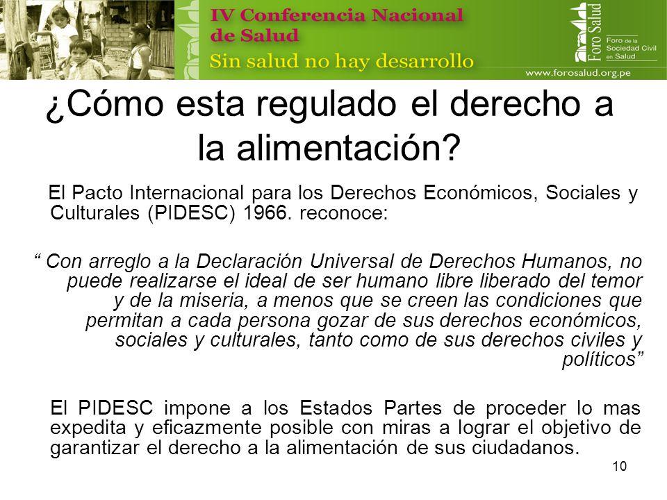 10 ¿Cómo esta regulado el derecho a la alimentación? El Pacto Internacional para los Derechos Económicos, Sociales y Culturales (PIDESC) 1966. reconoc
