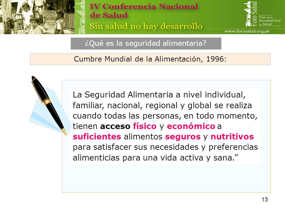 13 La Seguridad Alimentaria a nivel individual, familiar, nacional, regional y global se realiza cuando todas las personas, en todo momento, tienen ac