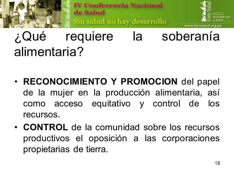 18 ¿Qué requiere la soberanía alimentaria? RECONOCIMIENTO Y PROMOCION del papel de la mujer en la producción alimentaria, así como acceso equitativo y