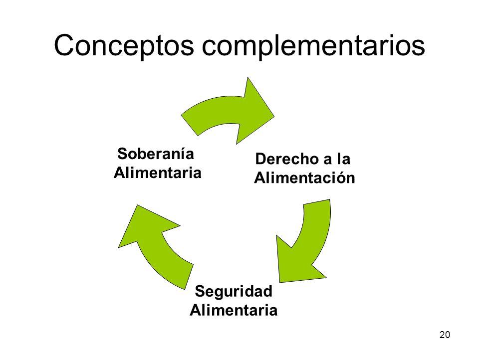 20 Conceptos complementarios Derecho a la Alimentación Seguridad Alimentaria Soberanía Alimentaria