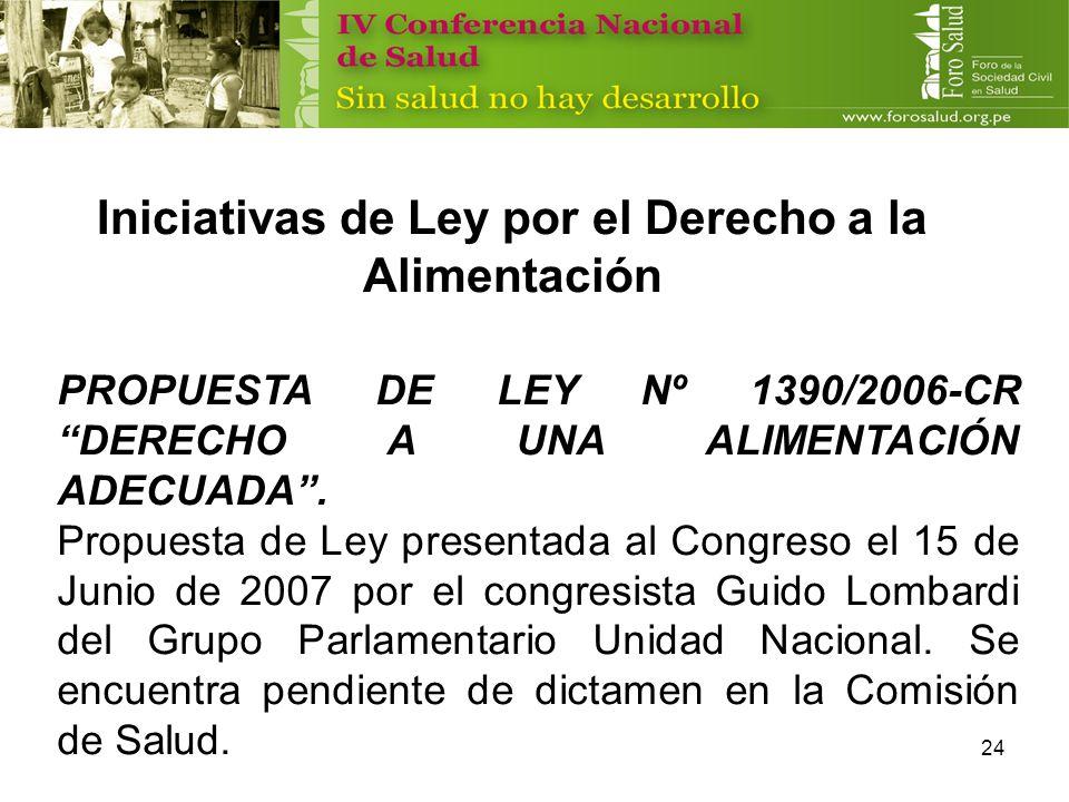 24 Iniciativas de Ley por el Derecho a la Alimentación PROPUESTA DE LEY Nº 1390/2006-CR DERECHO A UNA ALIMENTACIÓN ADECUADA. Propuesta de Ley presenta
