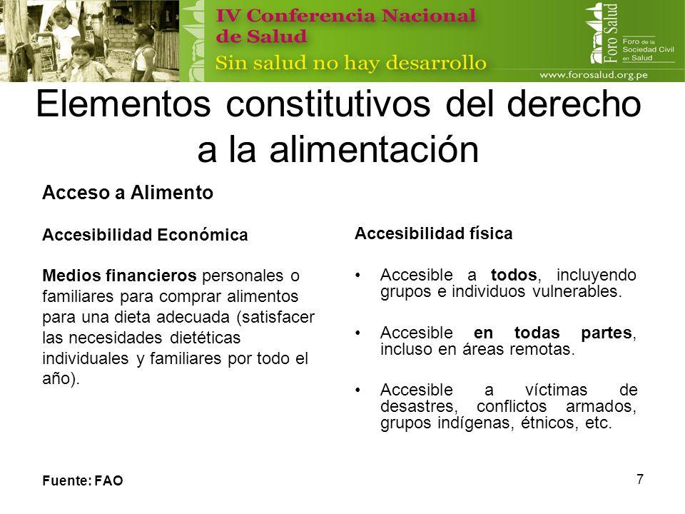 7 Elementos constitutivos del derecho a la alimentación Acceso a Alimento Accesibilidad Económica Medios financieros personales o familiares para comp