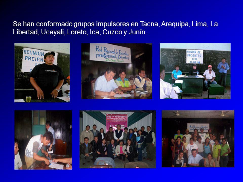 Se han conformado grupos impulsores en Tacna, Arequipa, Lima, La Libertad, Ucayali, Loreto, Ica, Cuzco y Junín.