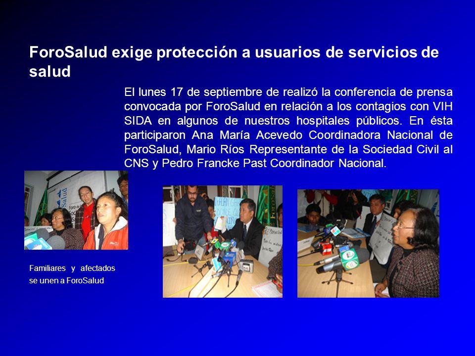 El lunes 17 de septiembre de realizó la conferencia de prensa convocada por ForoSalud en relación a los contagios con VIH SIDA en algunos de nuestros hospitales públicos.