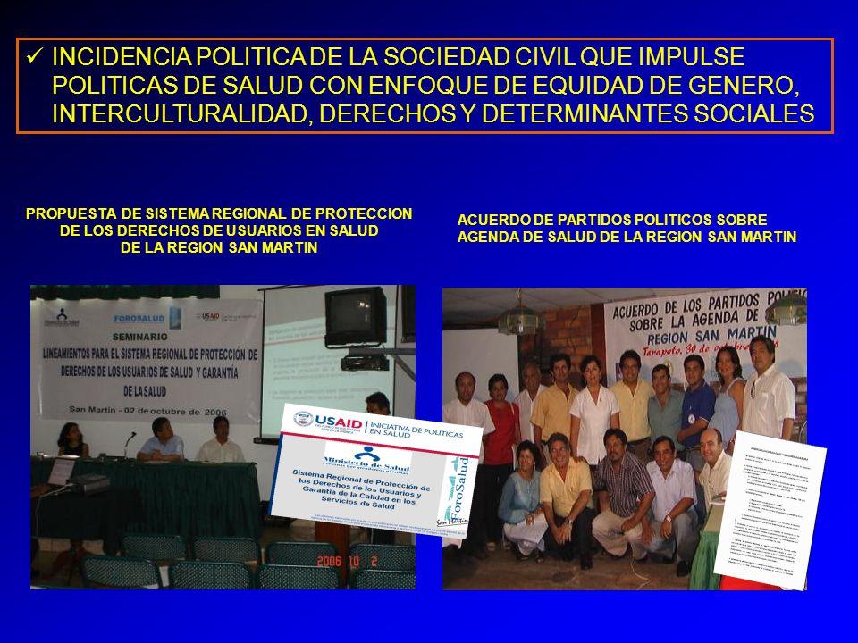 INCIDENCIA POLITICA DE LA SOCIEDAD CIVIL QUE IMPULSE POLITICAS DE SALUD CON ENFOQUE DE EQUIDAD DE GENERO, INTERCULTURALIDAD, DERECHOS Y DETERMINANTES SOCIALES PROPUESTA DE SISTEMA REGIONAL DE PROTECCION DE LOS DERECHOS DE USUARIOS EN SALUD DE LA REGION SAN MARTIN ACUERDO DE PARTIDOS POLITICOS SOBRE AGENDA DE SALUD DE LA REGION SAN MARTIN
