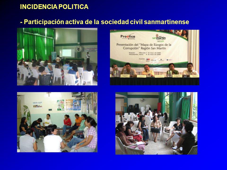 INCIDENCIA POLITICA - Participación activa de la sociedad civil sanmartinense