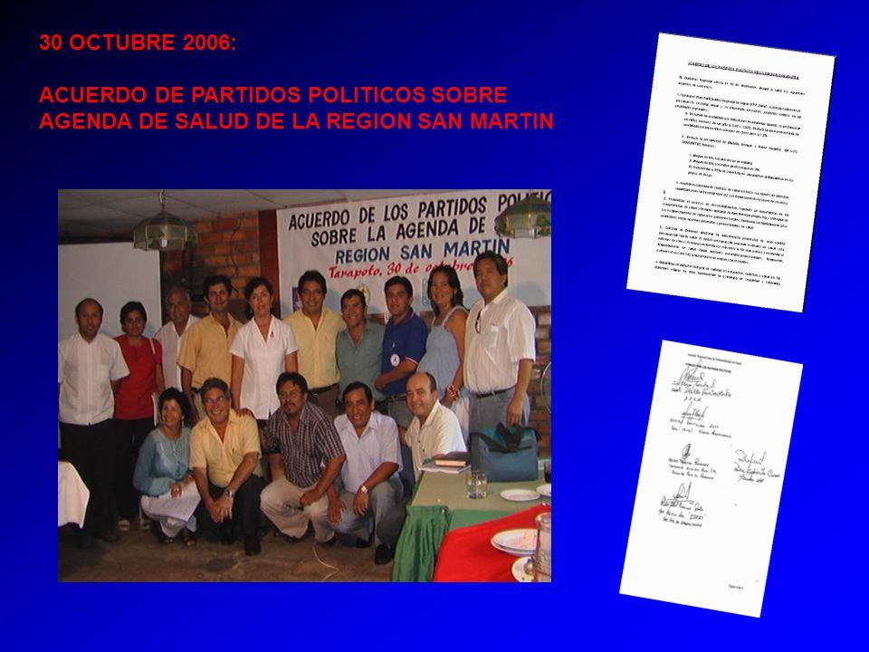 30 OCTUBRE 2006: ACUERDO DE PARTIDOS POLITICOS SOBRE AGENDA DE SALUD DE LA REGION SAN MARTIN
