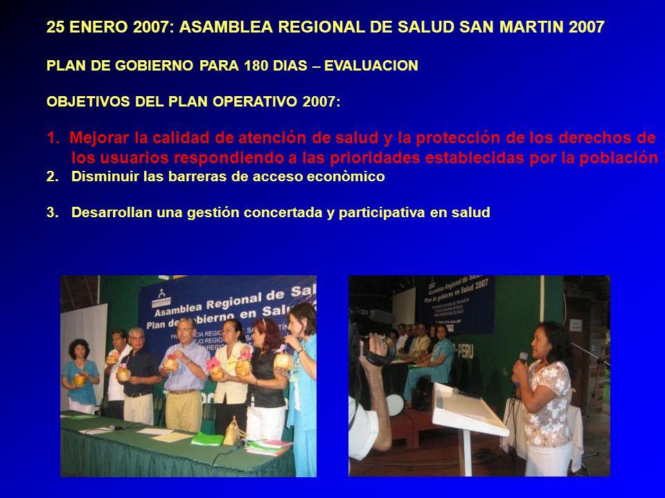 25 ENERO 2007: ASAMBLEA REGIONAL DE SALUD SAN MARTIN 2007 PLAN DE GOBIERNO PARA 180 DIAS – EVALUACION OBJETIVOS DEL PLAN OPERATIVO 2007: 1.
