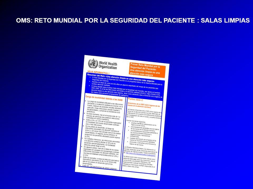 OMS: RETO MUNDIAL POR LA SEGURIDAD DEL PACIENTE : SALAS LIMPIAS
