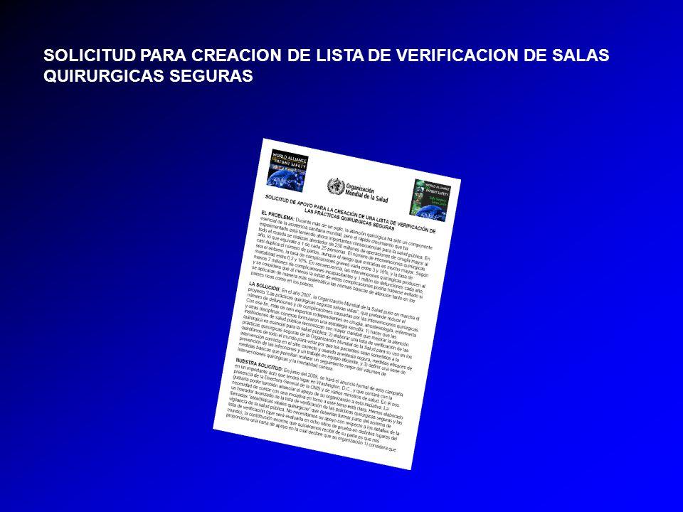SOLICITUD PARA CREACION DE LISTA DE VERIFICACION DE SALAS QUIRURGICAS SEGURAS