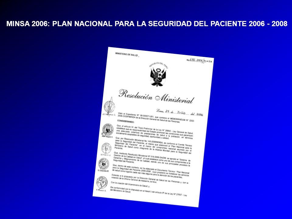 MINSA 2006: PLAN NACIONAL PARA LA SEGURIDAD DEL PACIENTE 2006 - 2008