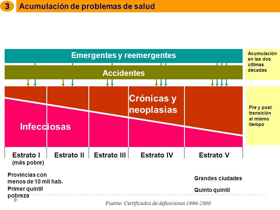 Infecciosas Crónicas y neoplasias Estrato I (más pobre) Estrato IIEstrato IIIEstrato IVEstrato V Accidentes Emergentes y reemergentes Acumulación en l