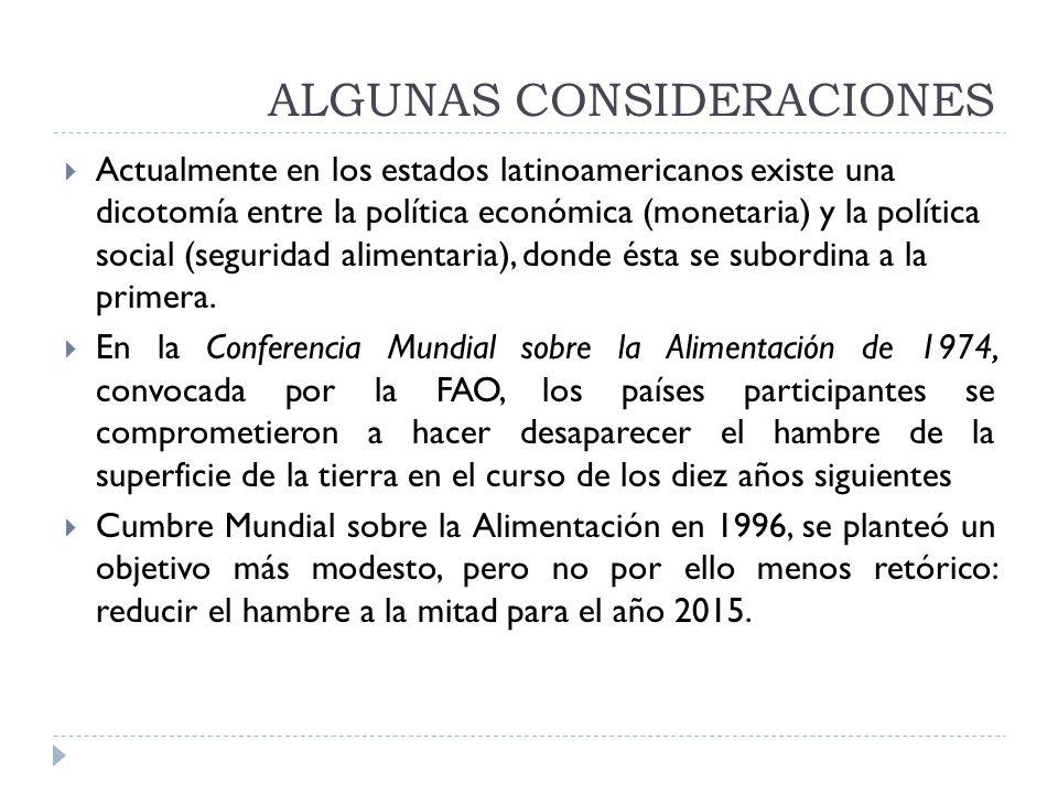 ALGUNAS CONSIDERACIONES Actualmente en los estados latinoamericanos existe una dicotomía entre la política económica (monetaria) y la política social