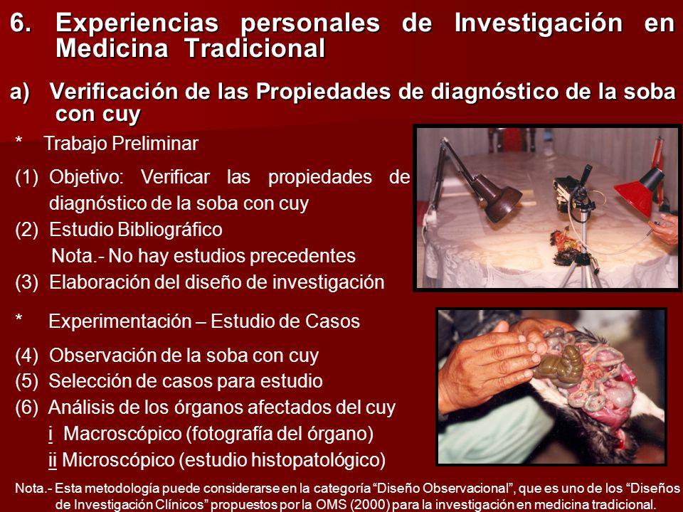 6.Experiencias personales de Investigación en Medicina Tradicional a) Verificación de las Propiedades de diagnóstico de la soba con cuy * Trabajo Prel