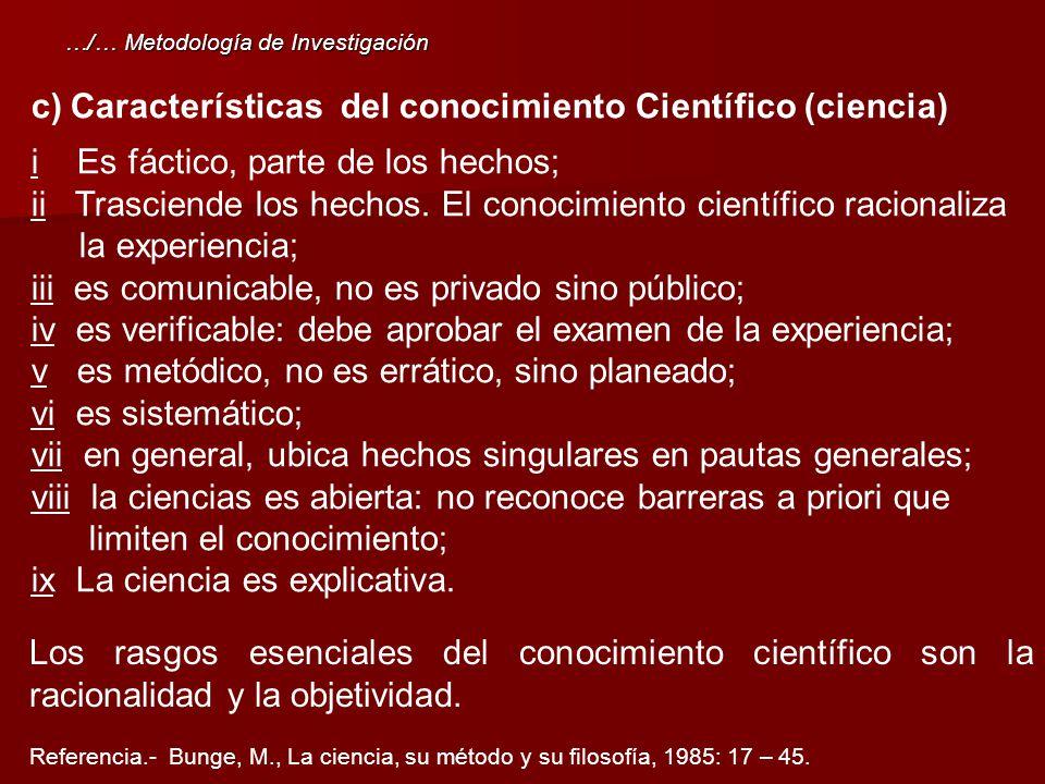 c)Características del conocimiento Científico (ciencia) i Es fáctico, parte de los hechos; ii Trasciende los hechos. El conocimiento científico racion