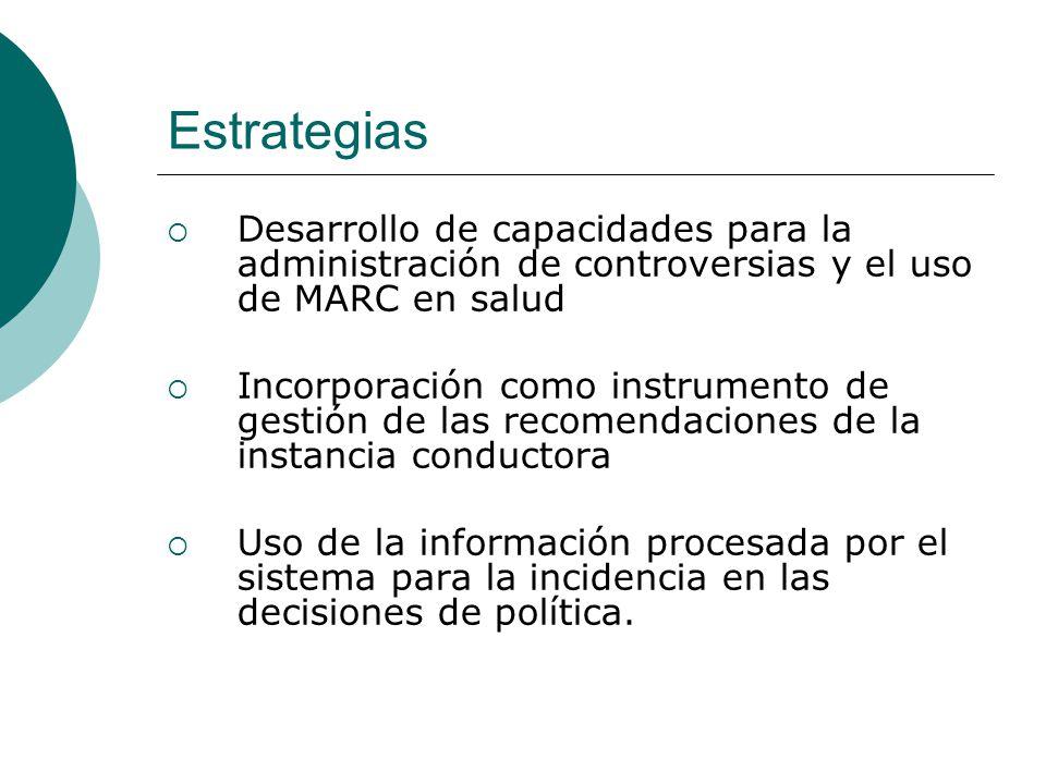 Estrategias Desarrollo de capacidades para la administración de controversias y el uso de MARC en salud Incorporación como instrumento de gestión de l