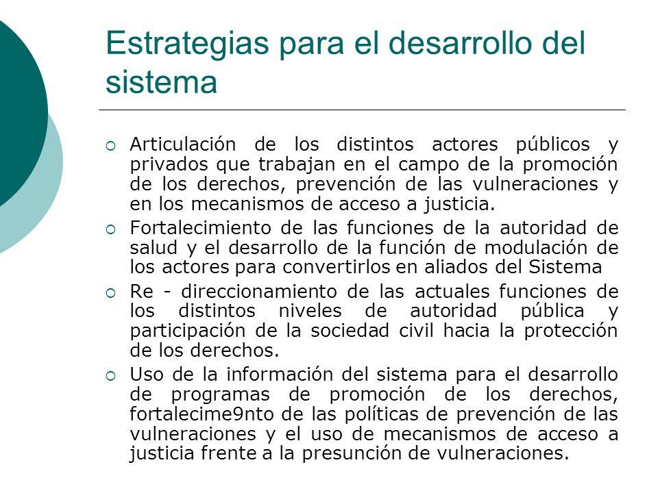 Estrategias para el desarrollo del sistema Articulación de los distintos actores públicos y privados que trabajan en el campo de la promoción de los d