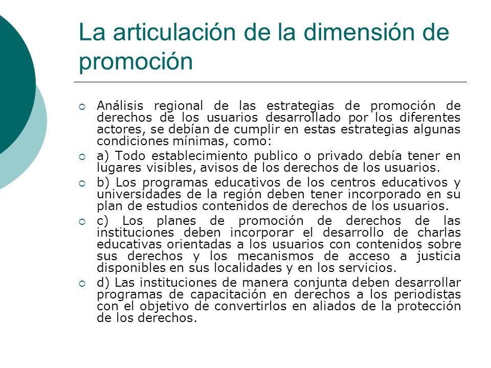 La articulación de la dimensión de promoción Análisis regional de las estrategias de promoción de derechos de los usuarios desarrollado por los difere