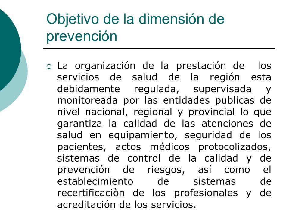 Objetivo de la dimensión de prevención La organización de la prestación de los servicios de salud de la región esta debidamente regulada, supervisada