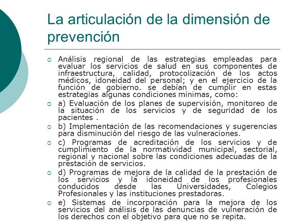 La articulación de la dimensión de prevención Análisis regional de las estrategias empleadas para evaluar los servicios de salud en sus componentes de