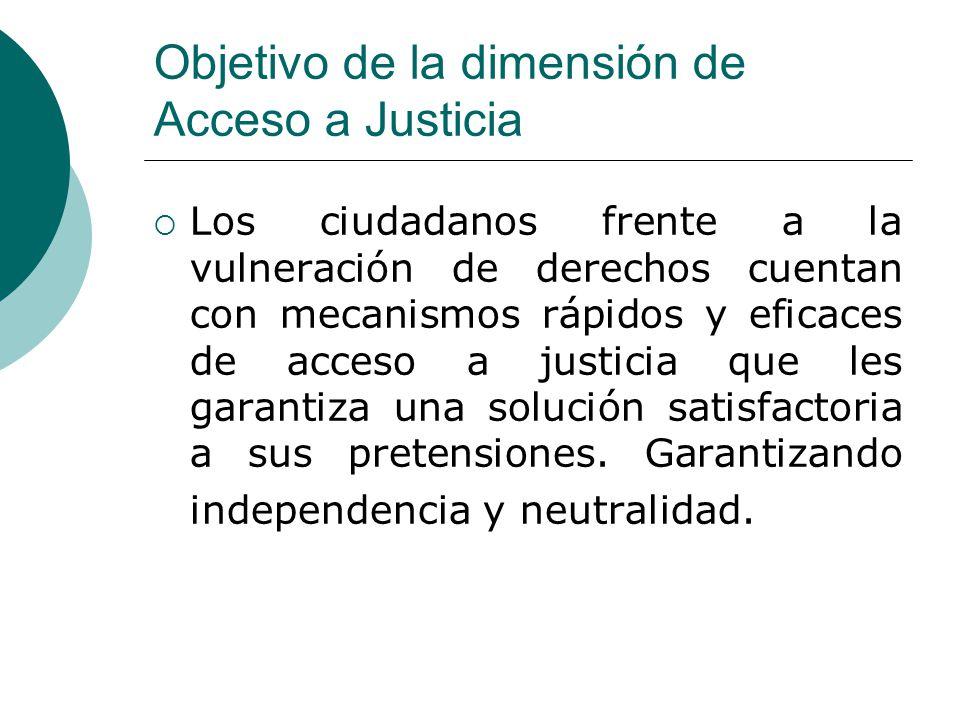 Objetivo de la dimensión de Acceso a Justicia Los ciudadanos frente a la vulneración de derechos cuentan con mecanismos rápidos y eficaces de acceso a