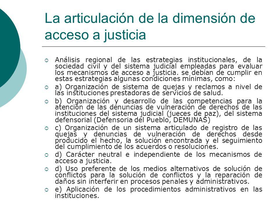 La articulación de la dimensión de acceso a justicia Análisis regional de las estrategias institucionales, de la sociedad civil y del sistema judicial
