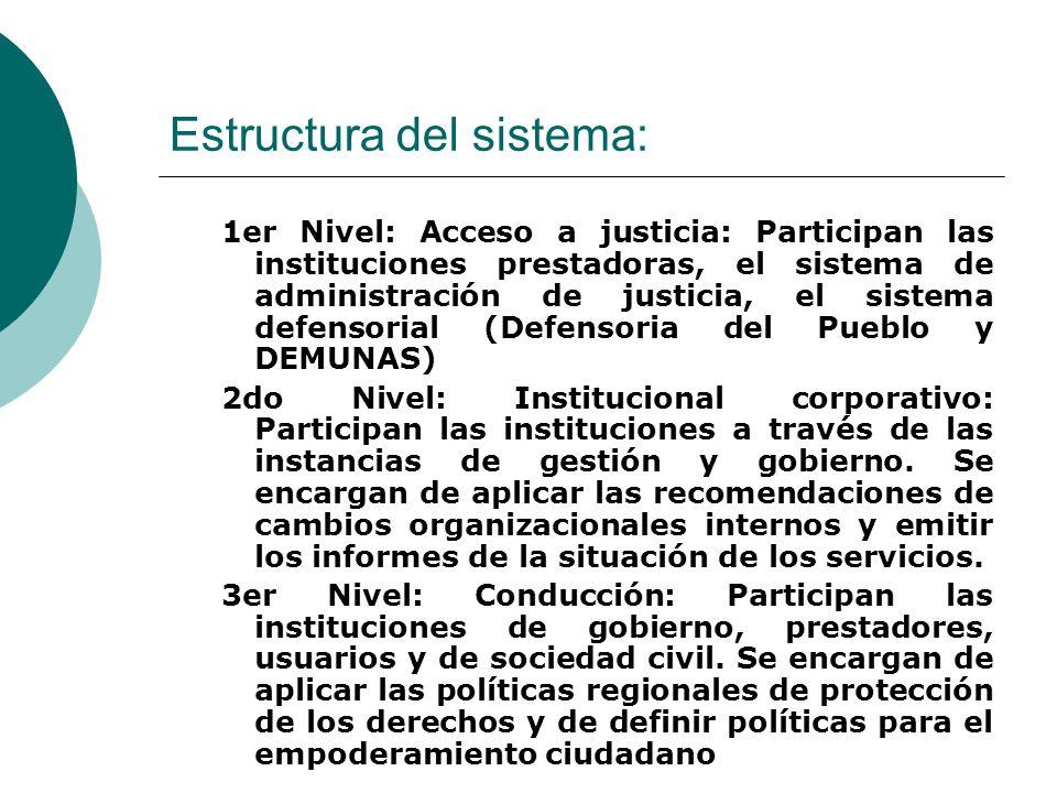 Estructura del sistema: 1er Nivel: Acceso a justicia: Participan las instituciones prestadoras, el sistema de administración de justicia, el sistema d