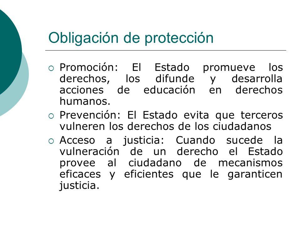 Obligación de protección Promoción: El Estado promueve los derechos, los difunde y desarrolla acciones de educación en derechos humanos. Prevención: E