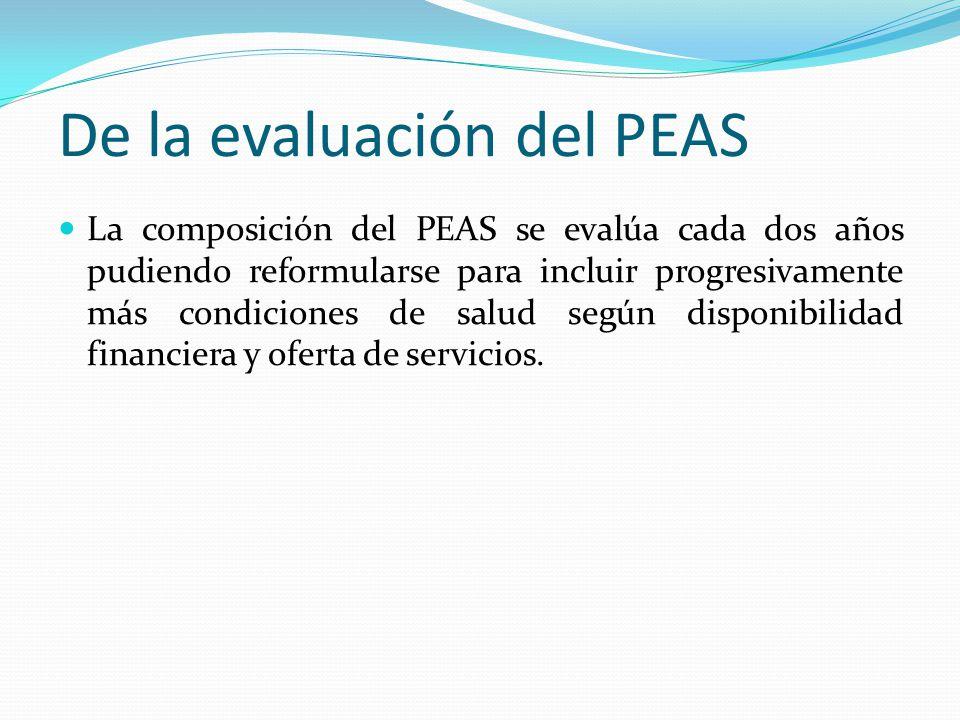 De la evaluación del PEAS La composición del PEAS se evalúa cada dos años pudiendo reformularse para incluir progresivamente más condiciones de salud según disponibilidad financiera y oferta de servicios.