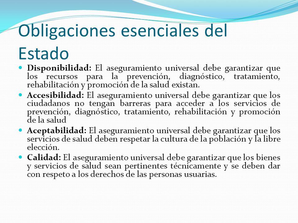Obligaciones esenciales del Estado Disponibilidad: El aseguramiento universal debe garantizar que los recursos para la prevención, diagnóstico, tratamiento, rehabilitación y promoción de la salud existan.