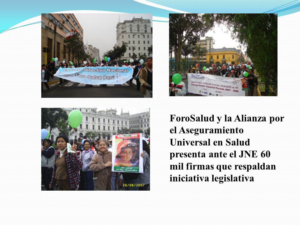 ForoSalud y la Alianza por el Aseguramiento Universal en Salud presenta ante el JNE 60 mil firmas que respaldan iniciativa legislativa