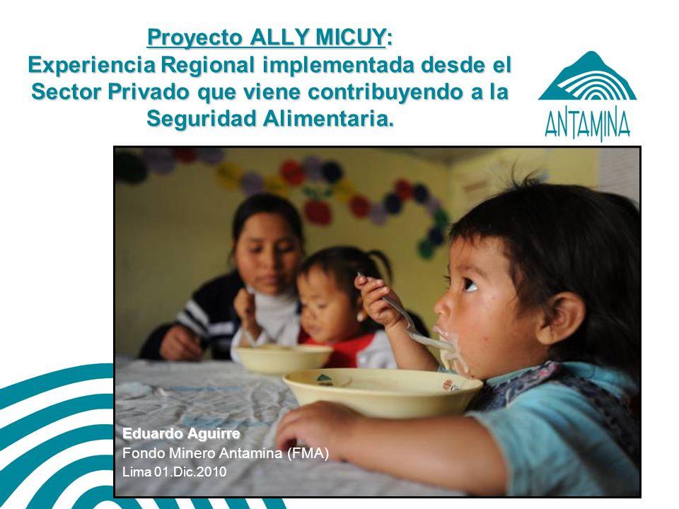 Antamina: Título de presentación12 OBJETIVOS ESPECIFICOS (4 Componentes) Hábitos y costumbres saludables Comunidades saludables Familias y viviendas saludables Actividades productivas autoconsumo