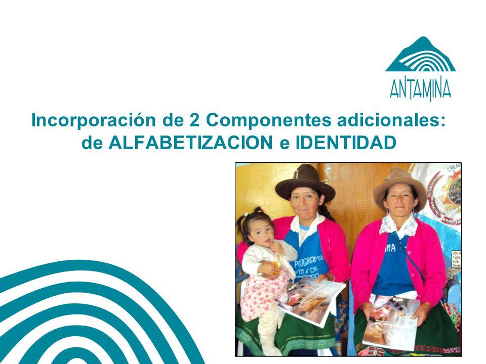 Incorporación de 2 Componentes adicionales: de ALFABETIZACION e IDENTIDAD